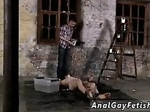 Gay rubber hardcore bondage Chained to the warehouse floor and