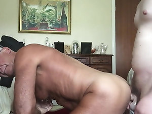 Handsome grandpa fucked by dildo and cock (1)