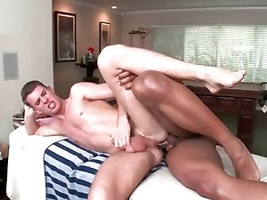 Gay hottie hammering white guy